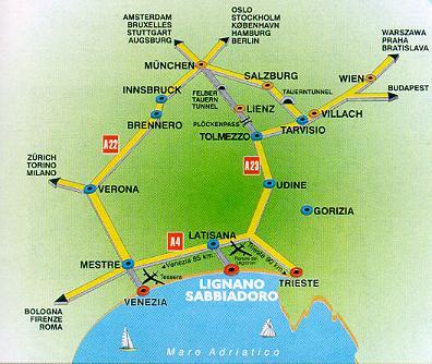 Italien Obere Adria Karte.Italien Hotels An Der Oberen Adria Bibione